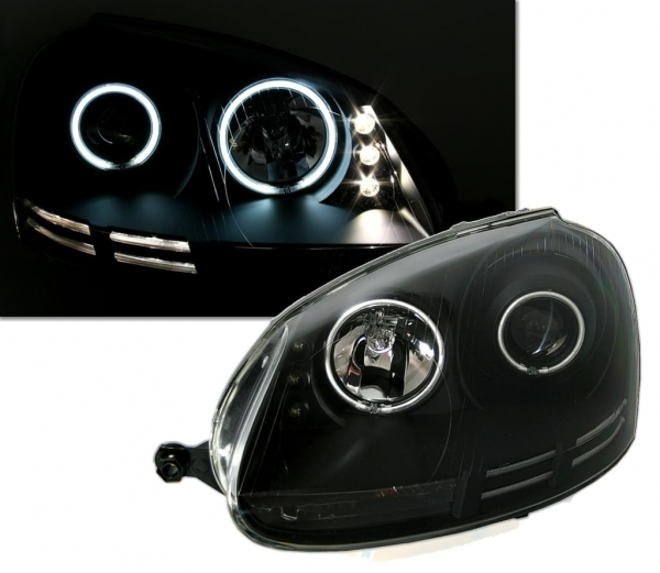 CCFL Angel Eyes Scheinwerfer VW Golf V 03-09 + Led Standlicht schwarz