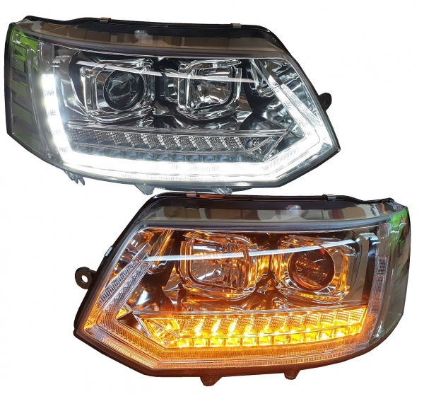 LED Tagfahrlicht Scheinwerfer VW T5 GP Facelift 09-15 chrom LED Laufblinker T6 Optik
