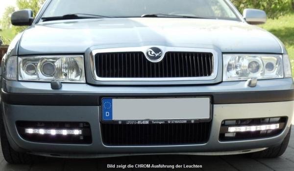 LED Tagfahrlicht + Blende passgenau Skoda Octavia 1U ab Bj. 2000 mit LGX14Y