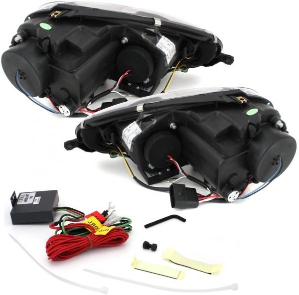 LED TAGFAHRLICHT Scheinwerfer VW Golf 5 V 03-09 schwarz für XENON