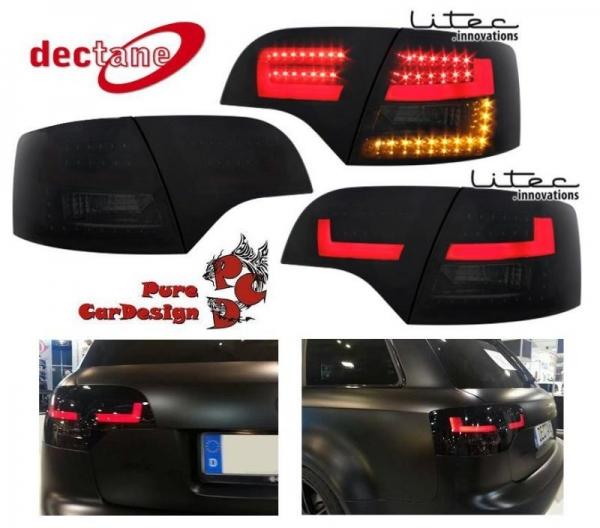 LITEC LED Rückleuchten schwarz mit dynamischem Blinker Audi A4 B7 Avant 04-08