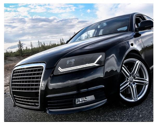 LED Tagfahrlicht Scheinwerfer Audi A6 4F C6 04-08 schwarz mit dynamischem Blinker für Original-Xenon
