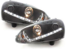 LED TAGFAHRLICHT Scheinwerfer VW Jetta 05-10 black schwarz