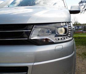LED Tagfahrlicht Scheinwerfer VW T5 Facelift 09-15 schwarz DEPO