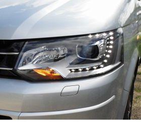 LED Tagfahrlicht Scheinwerfer VW T5 Facelift 09+ schwarz + OSRAM