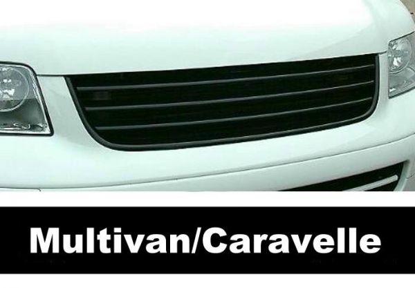 Für VW T5 Multivan Caravelle Kühlergrill Front Grill Schwarz ohne Emblem 03-09