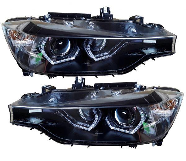 lightbar tagfahrlicht scheinwerfer bmw f30 f31 11 15 schwarz xenon optik. Black Bedroom Furniture Sets. Home Design Ideas
