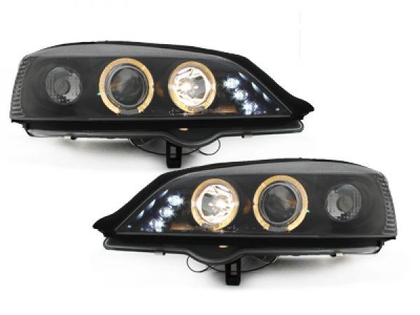 led angel eyes scheinwerfer opel astra g 98 04 schwarz. Black Bedroom Furniture Sets. Home Design Ideas