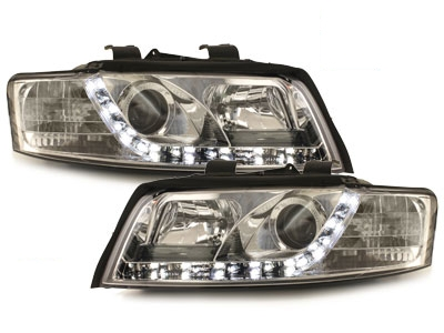 LED TAGFAHRLICHT Scheinwerfer AUDI A4 8E 01-04 chrom mit Dimmfunktion