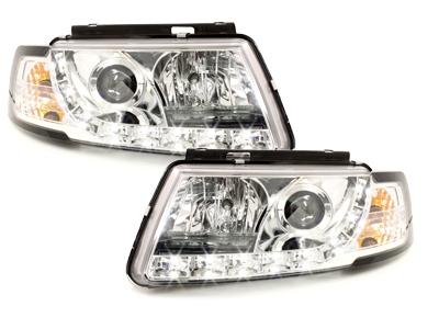 LED TAGFAHRLICHT Scheinwerfer VW Passat 3B 96-00 chrom Dimmfunktion