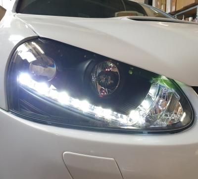LED TAGFAHRLICHT Scheinwerfer VW Golf 5 V 03-09 black schwarz