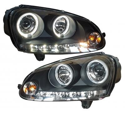 LED Angel Eyes Scheinwerfer VW Golf V 03-09 schwarz Sonar