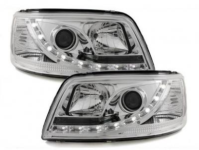 LED TAGFAHRLICHT Scheinwerfer VW T5 03-09 chrom mit Stellmotor