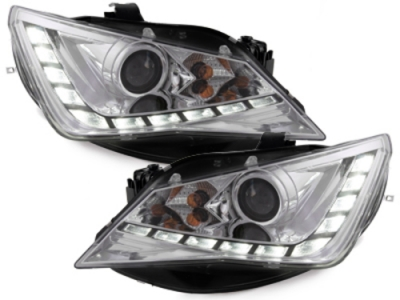 Scheinwerfer chrom Seat Ibiza 6J Facelift 12+ Tagfahrlicht-Optik