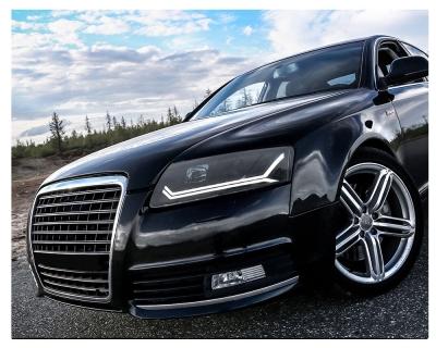 LED Tagfahrlicht Scheinwerfer Audi A6 4F C6 08-11 schwarz mit dynamischem Blinker für Original-Halogen