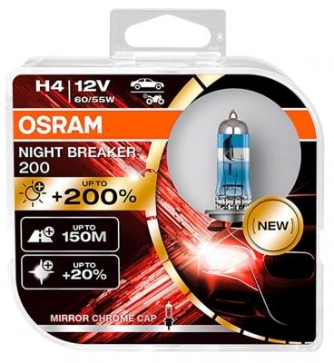 Osram NIGHT BREAKER 200 H4 12V 60/55W 2 Stück im Hardcover 64193NB200