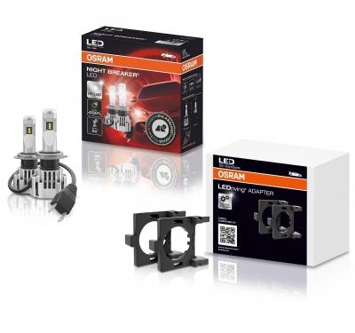 OSRAM NIGHT BREAKER H7 LED 220% Set für Ford Fiesta JA8 MK7 2013+ mit Adapter DA02