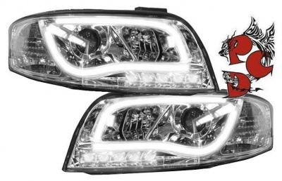 Light-Tube Scheinwerfer Audi A6 4B C5 01-04 Facelift chrom