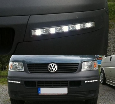 LED Tagfahrlicht VW T5 Transporter 03-09 chrom Tagfahrleuchten