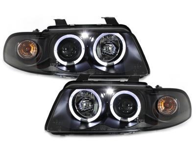 LED Angel Eyes Scheinwerfer Audi A4 B5 95-98 schwarz