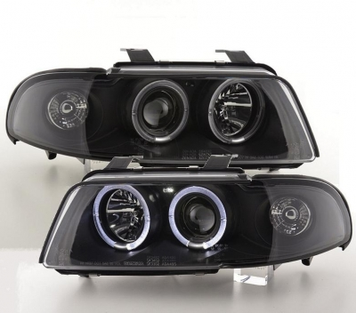 Led Angel Eyes Scheinwerfer AUDI A4 B5 99-01 2 Led-Ringe schwarz