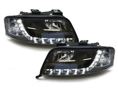 LED TAGFAHRLICHT Scheinwerfer AUDI A6 4B C5 FL 01-04 schwarz