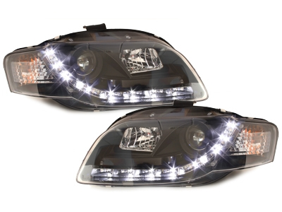 LED TAGFAHRLICHT Scheinwerfer AUDI A4 B7 04-08 black schwarz Son