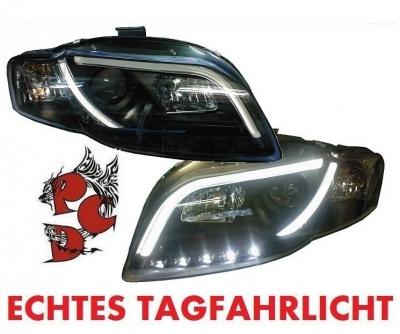Lightbar Scheinwerfer AUDI A4 8E B7 04-09 TAGFAHRLICHT schwarz