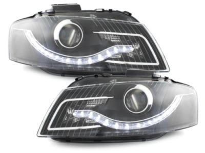 LED TAGFAHRLICHT Scheinwerfer AUDI A3 8P 03-08 schwarz A4-OPTIK