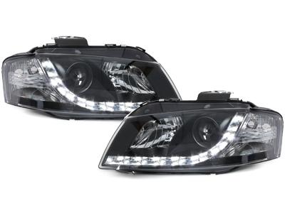 LED TAGFAHRLICHT Scheinwerfer AUDI A3 8P 03-08 black schwarz