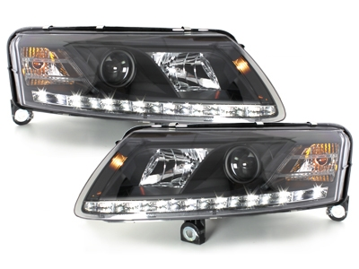 LED TAGFAHRLICHT Scheinwerfer AUDI A6 4F 04-08 schwarz XENON