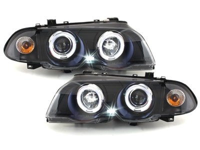 LED Angel Eyes Scheinwerfer BMW E46 Lim/Tour 98-01 schwarz Sonar