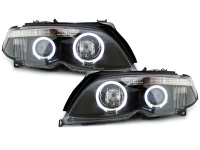 LED Angel Eyes Scheinwerfer BMW E46 Lim/Tour 7er-Look 01+ black