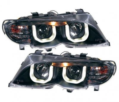 U-Design Angel Eyes Scheinwerfer BMW E46 Facelift 01-05 schwarz