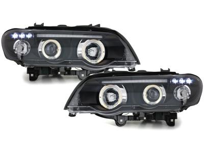 LED Angel Eyes Scheinwerfer BMW X5 99-03 E53 schwarz Sonar