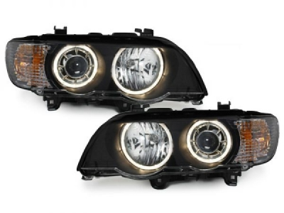 Angel Eyes Scheinwerfer BMW X5 99-03 E53 LED-Blinker schwarz