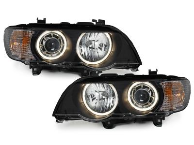 LED Angel Eyes Scheinwerfer BMW X5 99-03 E53 für XENON schwarz