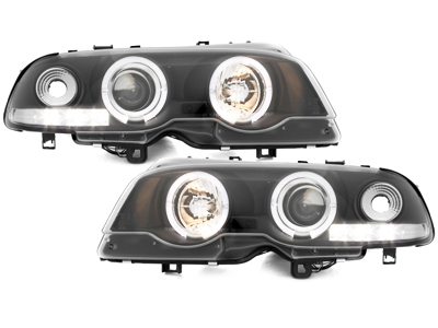 LED Angel Eyes Scheinwerfer BMW E46 Coupe/Cabrio 98-01 schwarz S