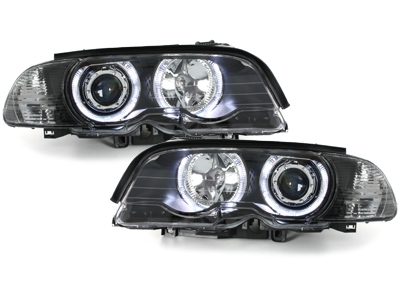 LED Angel Eyes Scheinwerfer BMW E46 Coupe 98-01 schwarz