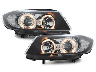 Angel Eyes Scheinwerfer BMW E90 05-08 LED Blinker schwarz