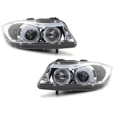 LED Angel Eyes Scheinwerfer BMW E90/E91 3er 05-08 chrom