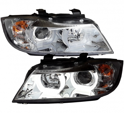 Lightbar Angel Eyes Scheinwerfer BMW E90 E91 05-08 chrom H7