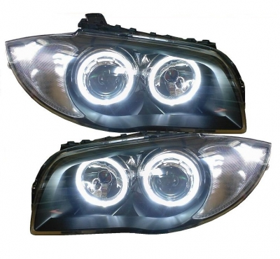Highpower-LED Angel Eyes Scheinwerfer BMW 1er E87 E81 04-11 schwarz black