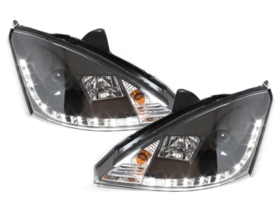 LED TAGFAHRLICHT Scheinwerfer Ford Focus 01-04 black schwarz