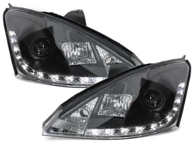 LED TAGFAHRLICHT Scheinwerfer Ford Focus 98-01 black schwarz