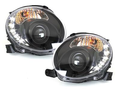 Scheinwerfer Fiat 500 07+ 2 teilig Tagfahrlicht-Optik schwarz