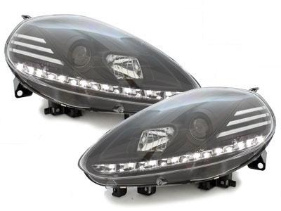 LED TAGFAHRLICHT Scheinwerfer Fiat Punto Evo 09+ black schwarz
