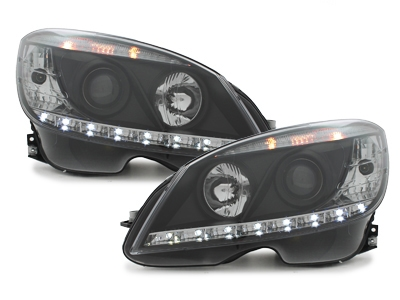 LED TAGFAHRICHT Scheinwerfer Mercedes Benz W204 07-11 black schw