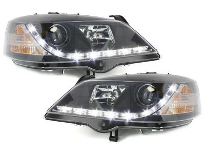 LED TAGFAHRLICHT Scheinwerfer Opel Astra G 98-04 black schwarz