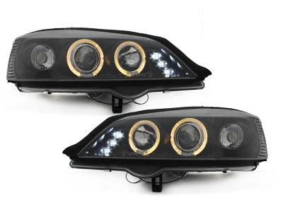 LED Angel Eyes Scheinwerfer Opel Astra G 98-04 schwarz